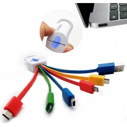 Cable 6 en 1 USB 3.1/TypeC/Micro USB/Mini USB